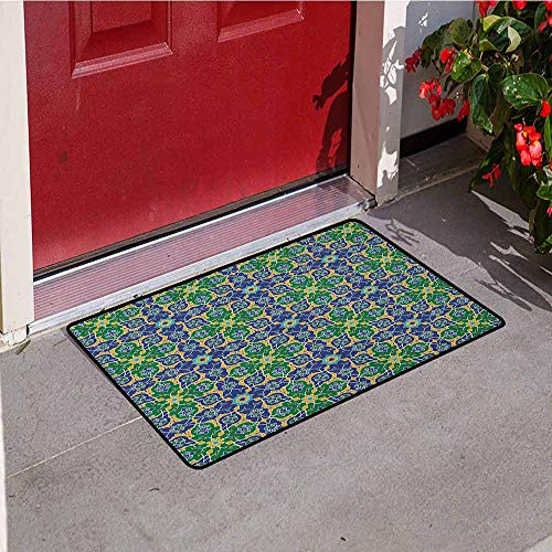 Gloria Johnson Arabian Inlet Outdoor Door mat Ornate Arabic Ethnic Mosaic Oriental Eastern Patterns with Damask Tribal Art Catch dust Snow and mud W29.5 x L39.4 Inch Yellow Green Teal ()