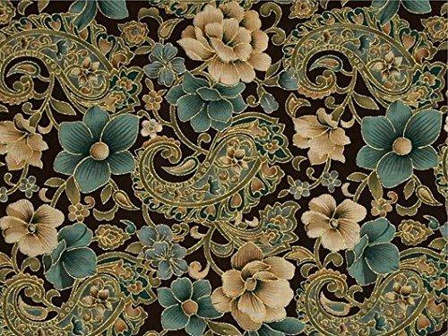 Gold Metallic Floral Paisley on Brown Cotton Window Curtain Valance handmade 42W x 15L FABRIC