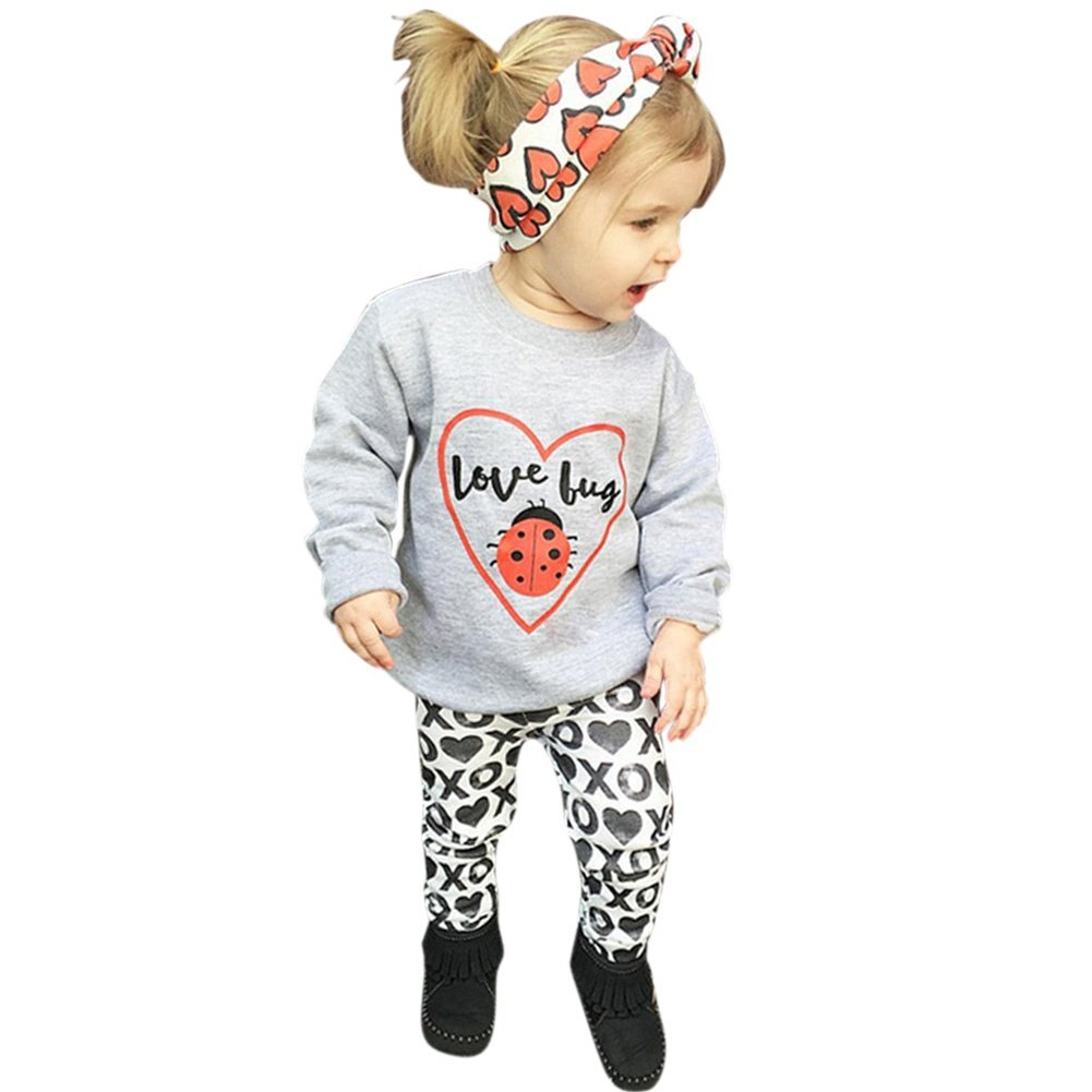 MiyaSudy Baby Girls Love Bug T-Shirt Tops and Printed Pant with Headband Kids Clothes Outfits Autumn