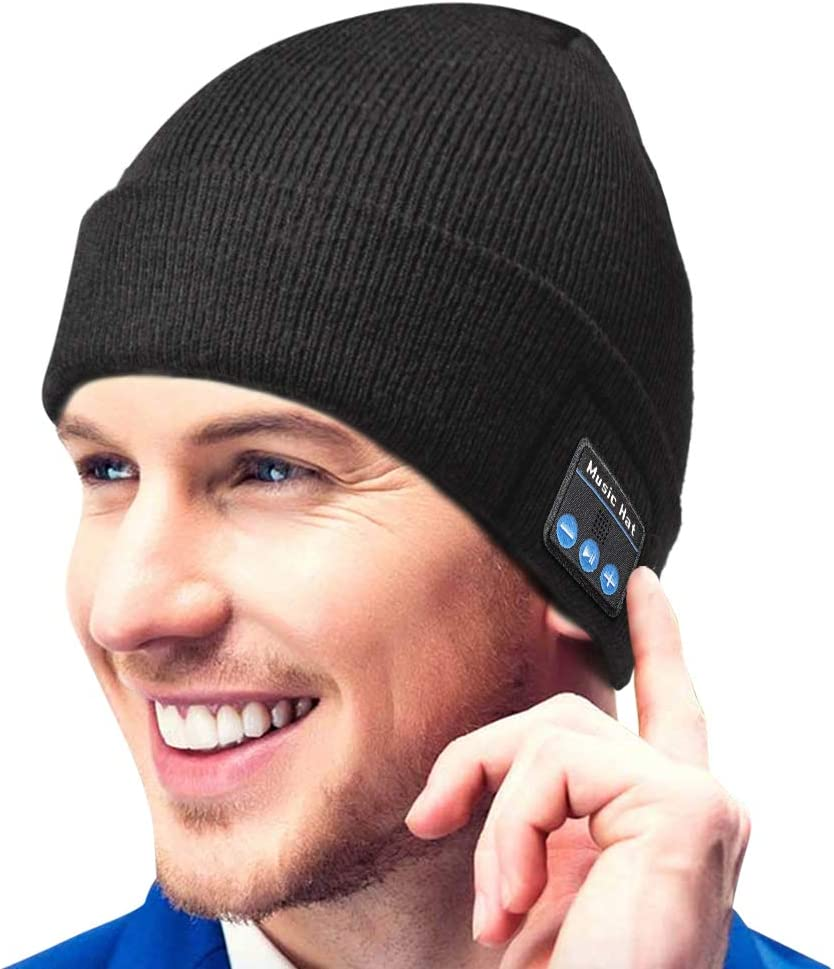 Bluetooth Beanie Gift for Men and Women, Upgraded Bluetooth 5.0 Music Hat, Wireless Headphone Built-in HD Stereo Speakers with Rechargeable USB for Winter Fitness Outdoor Sports & Christmas Gift