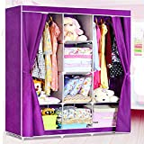 Non-woven Fabric Portable Closet with Shelves,Curtain Door-Purple (E-WF1611-2)