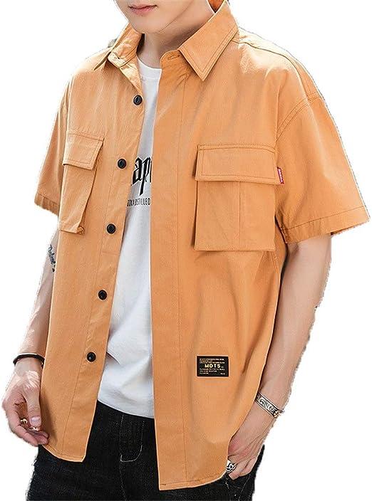 Camisa de trabajo con botones de media manga para hombre Camisa casual con bolsillo Camisa casual de trabajo Adolescente Verano Camisa holgada básica Hip Pop Club Fiesta Chaqueta Top Outwear Camisas d: