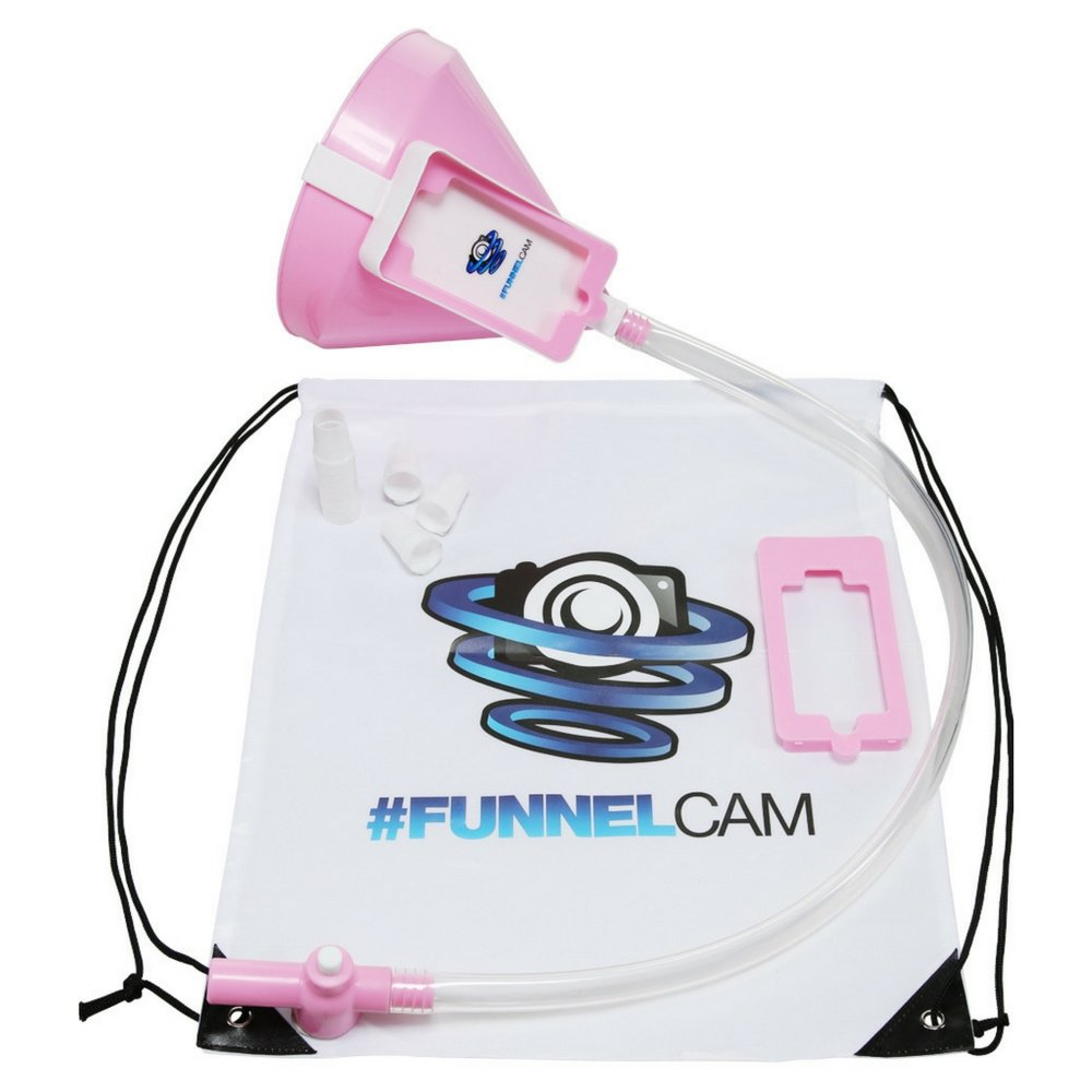 FunnelCam - Pink Beer Bong with Patented Valve, Premium No-Kink 2.5ft Tube and Extra-Large Funnel || FREE Detachable Phone Mount, Bag, Mouth Pieces, Stickers Included