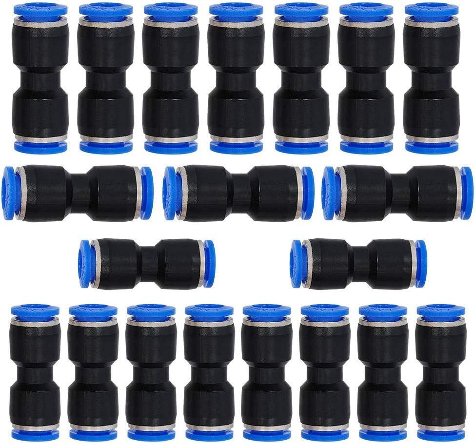 JJDD 50pcs Air Tool Fittings,Air Piping 4//6//8//10//12mm 5//32 1//4 5//16 3//8 1//2 Straight Push Connectors Plastic Push Tube Quick Connect Fittings Pneumatic Connectors Air Line Fittings Push Lock