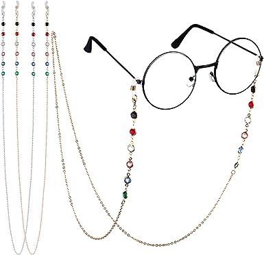 Eli-time Correas gafas para mujer Cadena gafas de sol con cuentas de cristal de metal//Cordones para el cuello con silicona antideslizante para m/últiples aplicaciones