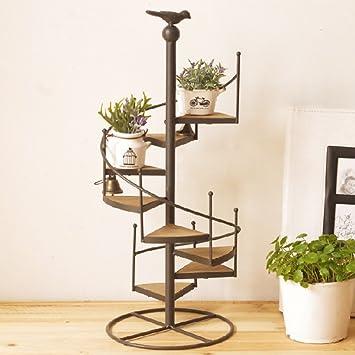 Fleur de fer étagère balcon Escalier Plante Multi-Tier avec ...