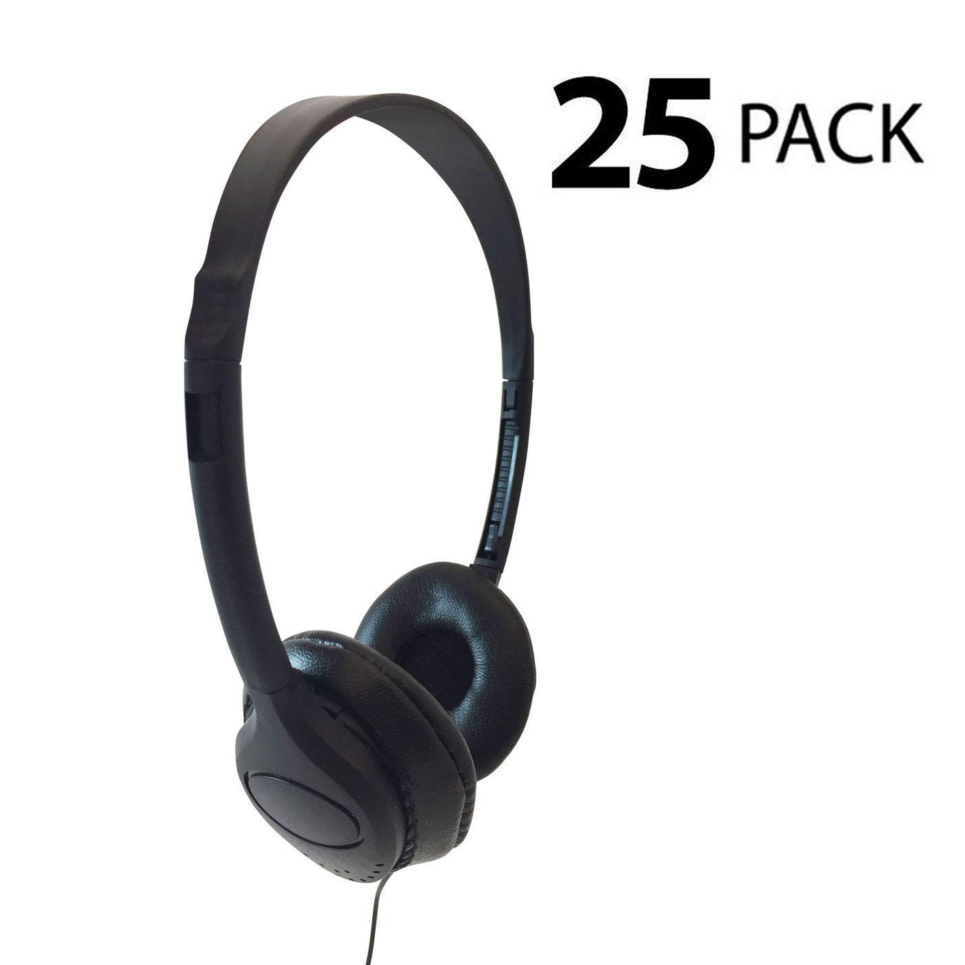 Encore ENC-313 Classroom Stereo Bulk Headphones with Leatherette Earpads - 25 Pack by IFENC