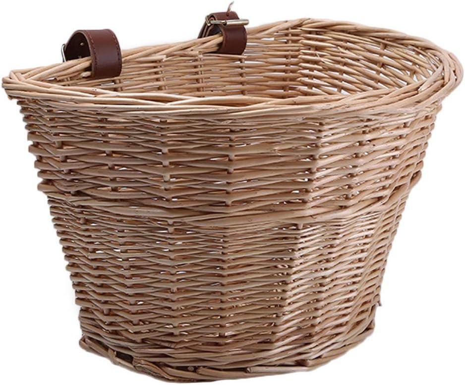 Chutoral Sanery Vintage mimbre cesta de la bici de cuero marrón correa ajustable bicicleta/ciclo para comprar (color madera)