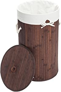 KepooMan Laundry Hamper Bamboo Barrel Type Foldable Storage Laundry Basket Dirty Clothes Organizer Hamper with Lid,Removable Cotton Liner,Handles,Dark Brown