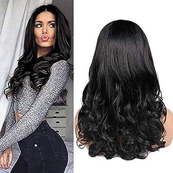 wig Pelucas Sintéticas Largas Onduladas Negras del Frente del Cordón Ombre Brown para Las Mujeres Fibra