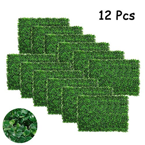 FYHEART Artificial Boxwood Panels Faux Hedge Plant Wall Backdrop UV Protection Indoor Outdoor Greenery Fence Wall Decoration,24