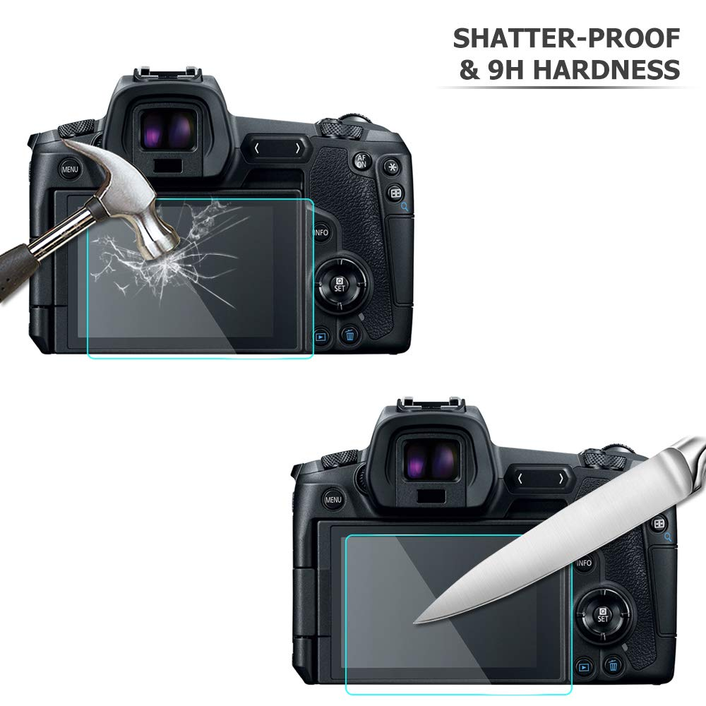 Protector de Pantalla de Piel con Textura para c/ámara Protector de Pantalla para Canon EOS R con Protector de Pantalla de Cristal Templado sin Burbujas