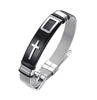 Amazon Com Quaappaa Mens Cross Bracelet Religious Stainless Steel