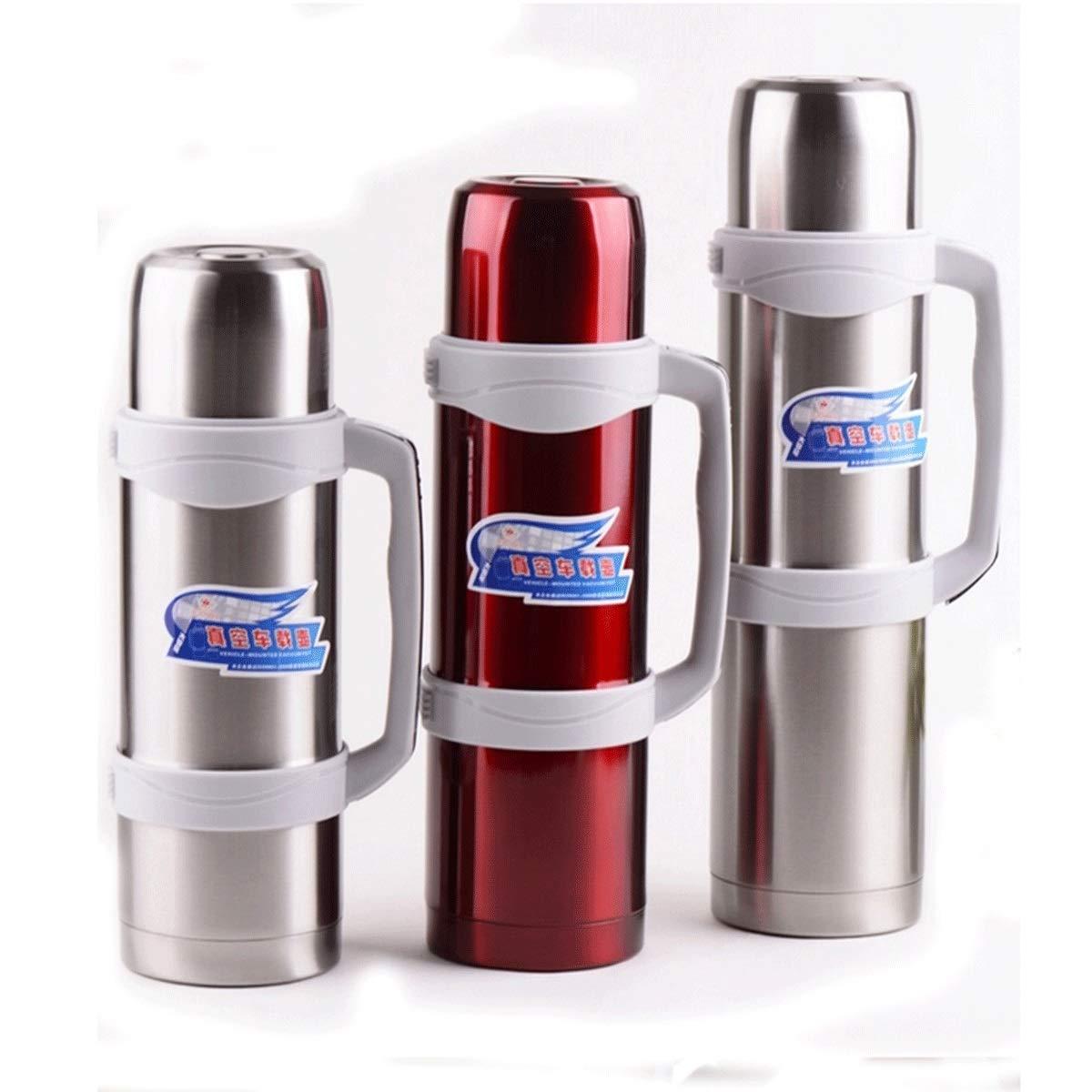 8haowenjuguan カー断熱ポット、大容量、ステンレススチール製真空フラスコ、真空の屋外旅行旅行用湯たんぽ、アウトドア断熱ポット、2.6L / 3.5L / 3.0L、スチールカラー/レッド (Capacity : 3.0L, Color : Steel color) B07R1TC5MW Steel color 3.0L