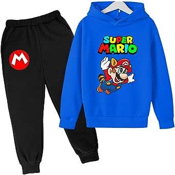 ZKDT Sudadera con capucha para niños y niñas, diseño de Mario, talla 100-160
