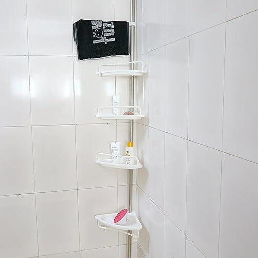 4-tier estante baño, estantería telescópica para ducha ducha ...