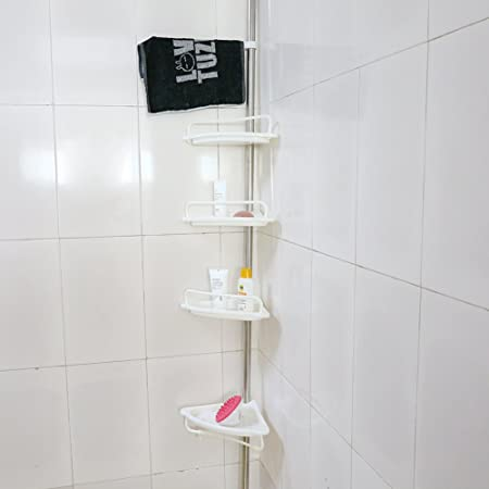 4 tier adjustable bathroom shelf telescopic shower shelf shower rh amazon co uk bathroom ladder shelf towel rack bathroom shelf rack