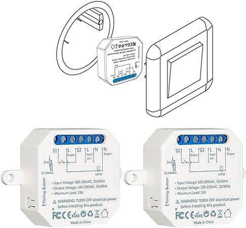 LoraTap – Juego de 2 interruptores wifi Alexa inalámbricos, Va y Viento Paralelo, Receptor 250...
