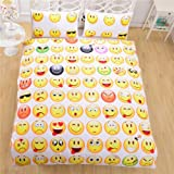 Emoji Double Duvet Cover Lightinthebox3D Prints Beautiful Poly/Cotton 3-Piece Creative Funny EMOJI Bedding Sets 1x Duvet Cover and 2x Pillow Covers (full)