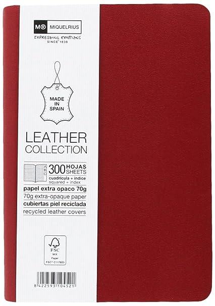 Miquelrius - Cuaderno flexible en piel, tamaño 8º, Con índice alfabético, 300 hojas, Cuadrícula 5 mm, con goma, color rojo