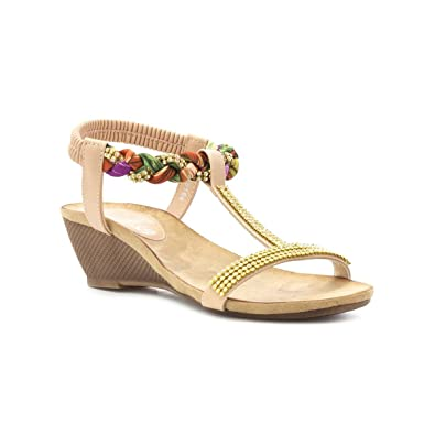 d6ed7821000 Lilley Womens Nude Diamante T Bar Wedge Sandal  Amazon.co.uk  Shoes ...