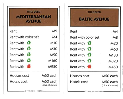 Amazoncom Monopoly Brown Deed Cards Mediterranean Avenue Baltic