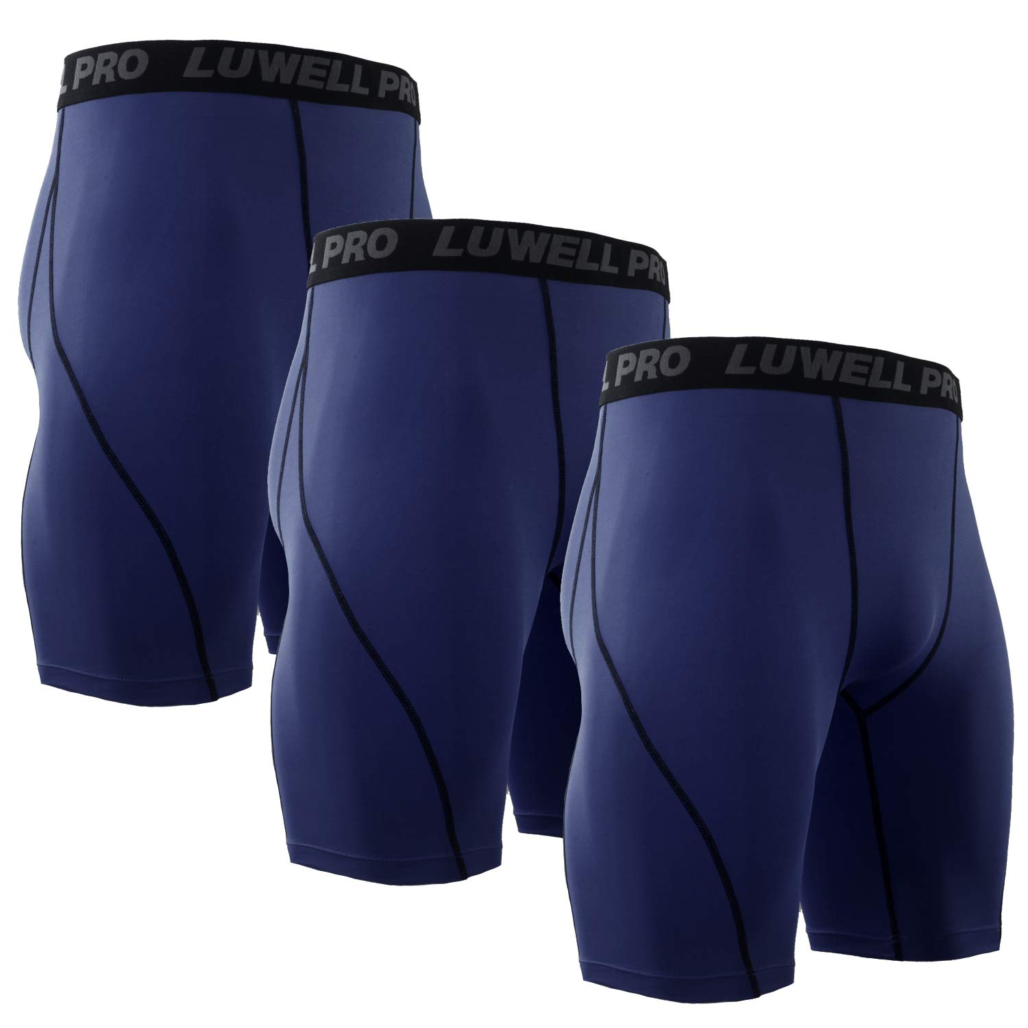 LUWELL PRO Men's 3 Pack Compression Shorts Baselayer Cool Dry Sports Tights Shorts for Running,Workout,Training(3Nave Blue,S)