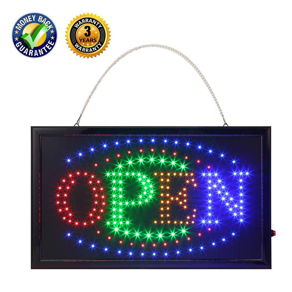 LED Open Sign,Anrookie (22x13inch 110v On/Off withChain) Open Signs for Business, 2 Modes for Stationary Lights or Animated, for Business, Walls, Window, Shop,Office Sign by anrookie