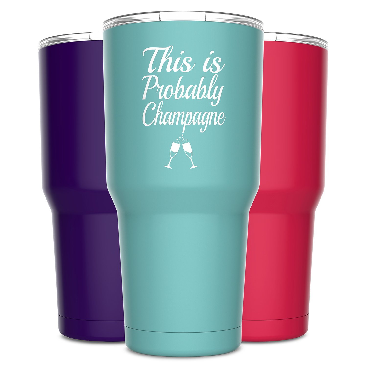 Alcee This is Probably Champagne Stainless Steel Funny Tumbler with Lid - Large 30 oz Vacuum Insulated Travel Mug - Funny Tumblers for Hot Coffee and Cold Drinks - Premium Gifts Women Men Mom Sister