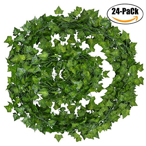 Artificial Ivy, Outgeek Silk 24 Strands 168 Ft Fake Ivy Leaves Hanging Vine Leaves Garland for Wedding Party Garden Wall Decoration (24 PCS) (Ivy Wedding Garland)