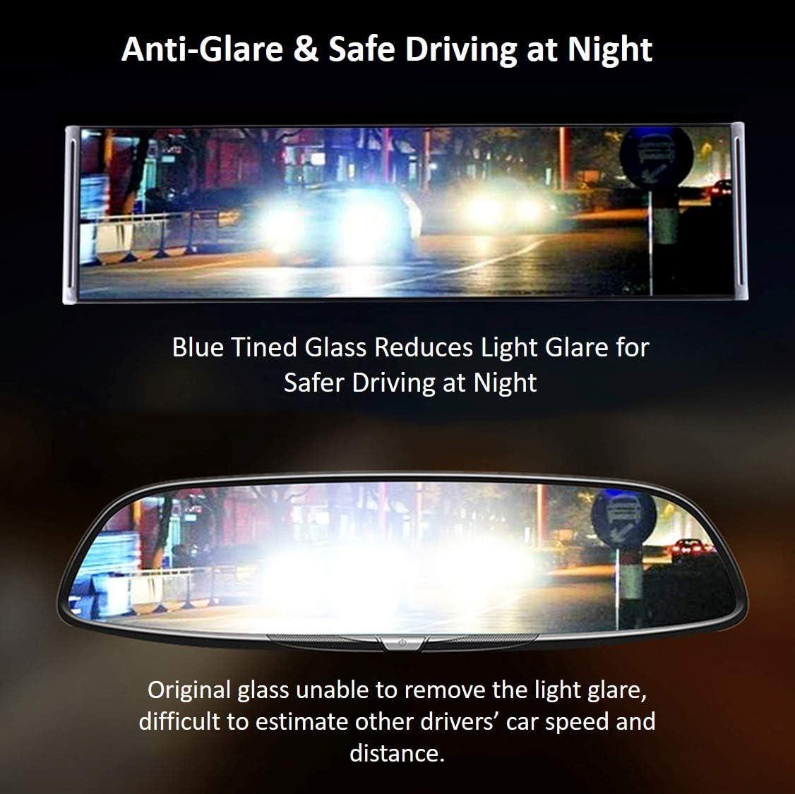 SUV Wide Angle Car Rear View Mirror Anti-Glare Universal Interior Clip On RearView Mirror for Car Truck 30 cm x 8 cm, 11.8 L x 3.15 H
