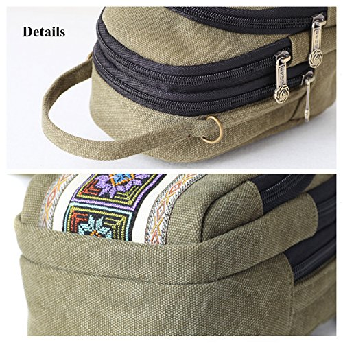 Embroidery Size Coin Women Crossbody for Cell phone Basic Bag Pouch Green Purse Goodhan Girls Army Canvas B001 TwdqBOw1