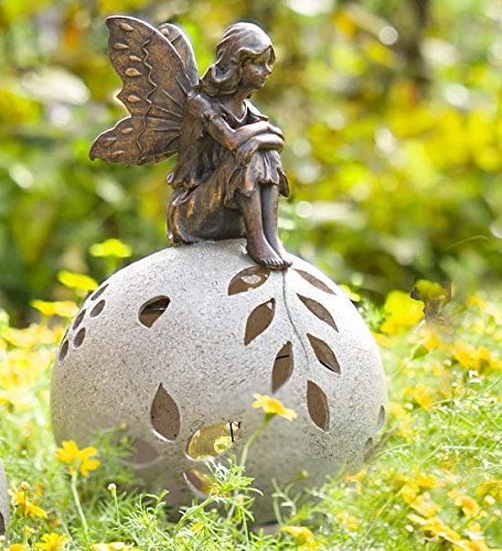 Plow And Hearth Fairy Solar Globe Garden Light, Thinking