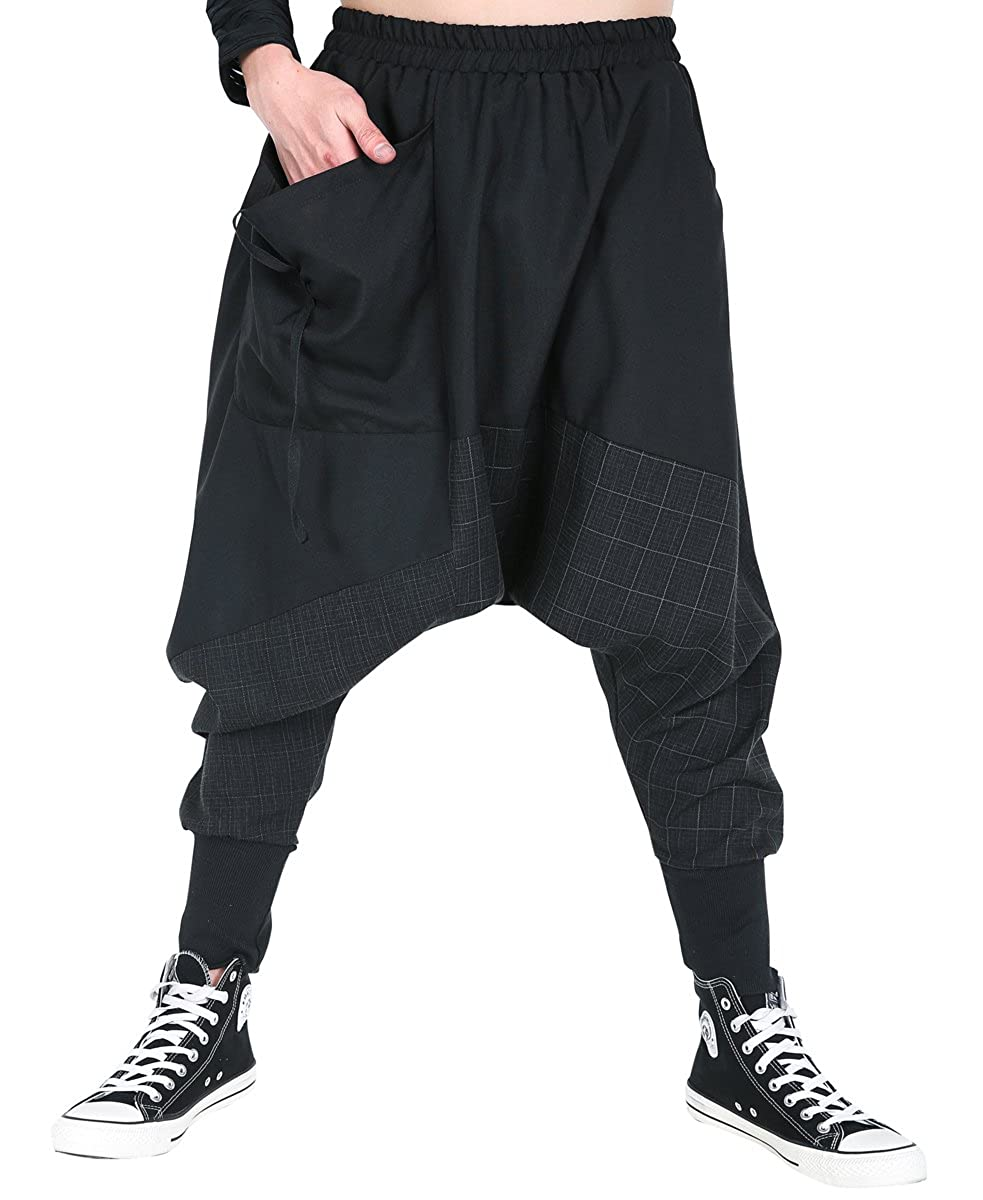 ELLAZHU Men's Baggy Elastic Waist Drop Crotch Harem Pants GYM188 A