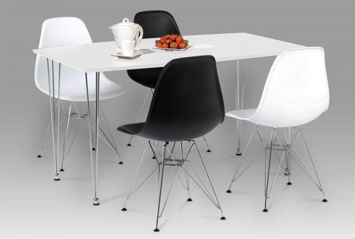 High Gloss with Chrome 1300W x 800D x 750H Dining Table Dining Room Furniture Bianca Dining Table White High Gloss with Steel Chrome Legs