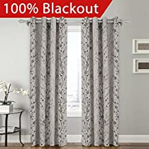 FirstHomer Country Style Plum Blossom Polyester 50Wx63L Inch (1 Panel) Blackout Lined Curtain Drape Silver Nickle Grommet SOFITEL Collection For Bedroom | Living Room | Club | Restaurant