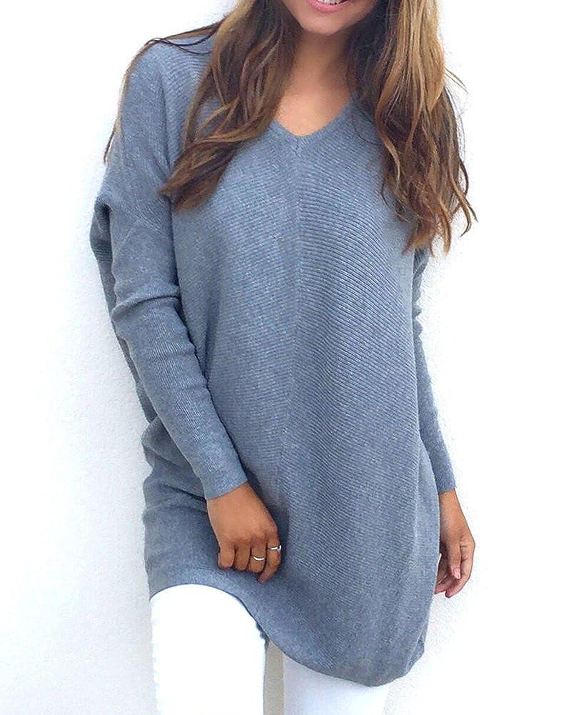 Damen Lange /Ärmel Unterhemd Stretch Sweater Pullover Strick Langshirt Bluse Top Casual