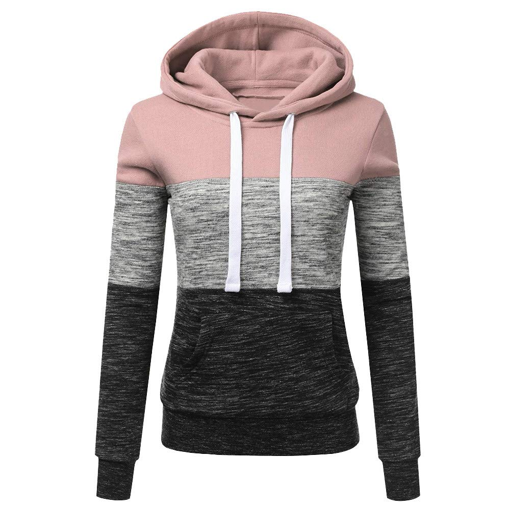STORTO Womens Casual Color Block Hoodies Sweatshirt Patchwork Drawstring Pullover Tops (S, Pink)