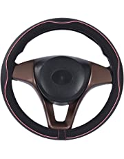 2019 New Microfiber Leather Car Large and Small Steering wheel Cover (15.25''-16'', Black Pink)