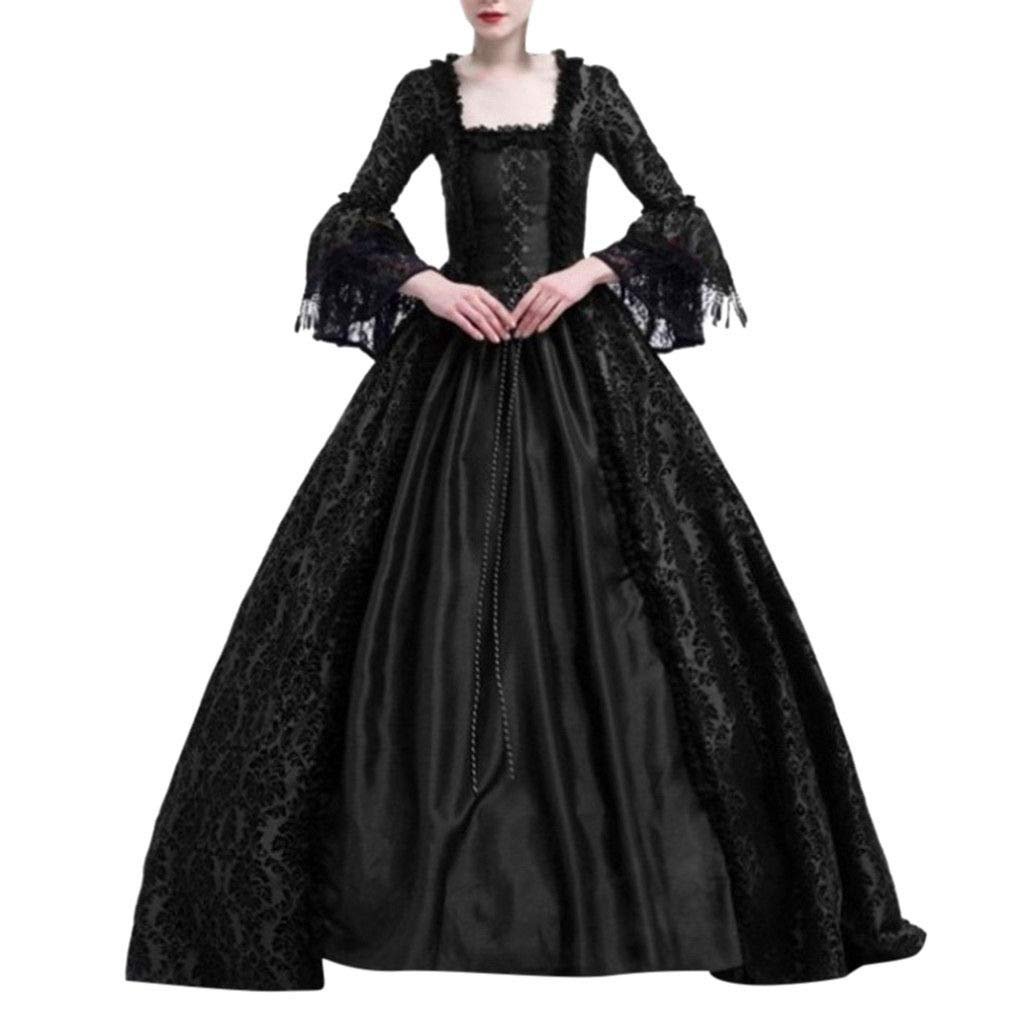 Women Gothic Victorian Lolita Dresses Lace Steampunk Maxi Medieval Renaissance Vampire Halloween Costumes Ball Gown (XXXL, Black)