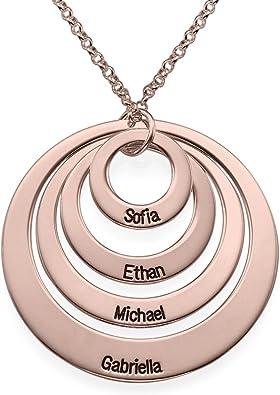 Nombre Personalizado Grabado para Mujer Círculo Collar De Plata Oro Rosa Caja
