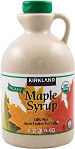 Kirkland Signature Organic Gluten Free 100% Pure, Grade A Amber Rich Maple Syrup - 1 L (33.8 oz)