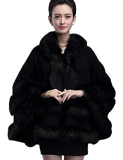 23147016130 Aphratti Women s Wrap Shawl Cape Coat with Luxury Faux Rex Rabbit ...