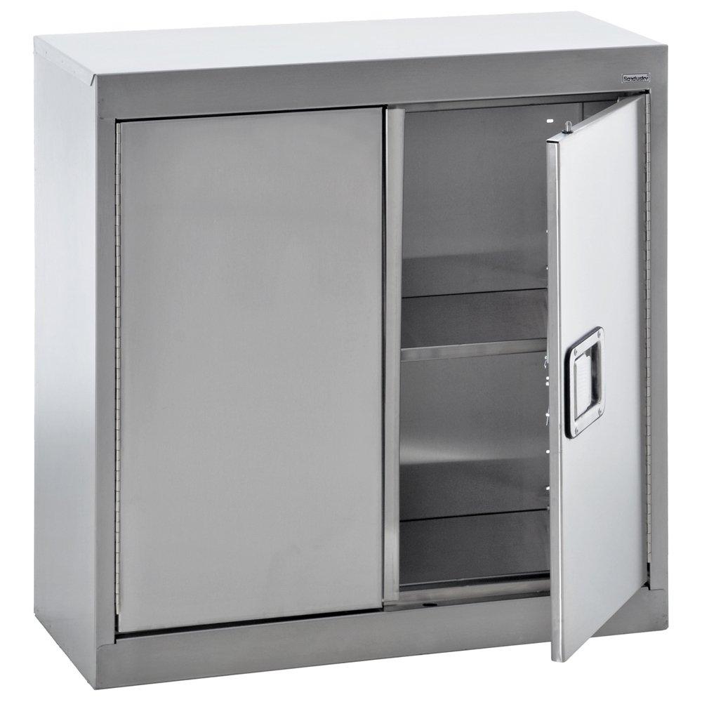 Sandusky Lee SA1D301230-XX 304 Stainless Steel Wall Storage Cabinet, 1 Adjustable Shelf, 30'' Height x 30'' Width x 12 inch Depth