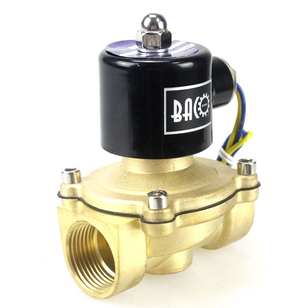 BACOENG 1'' DC12V Electric Solenoid Valve (NPT, Brass, Normally Closed)