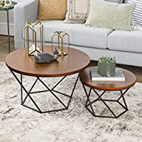 New Geometric Nesting Coffee Tables in Walnut Finish with Black Frame
