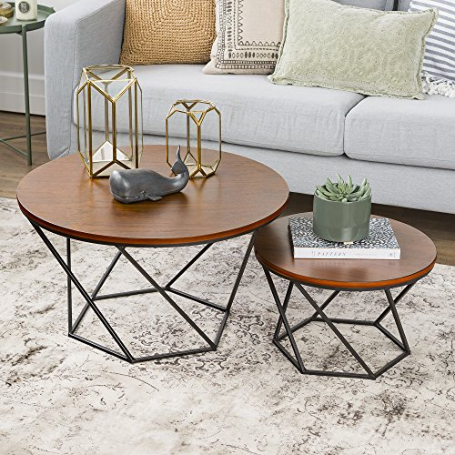 WE Furniture Geometric Wood Nesting Coffee Tables - Walnut/B