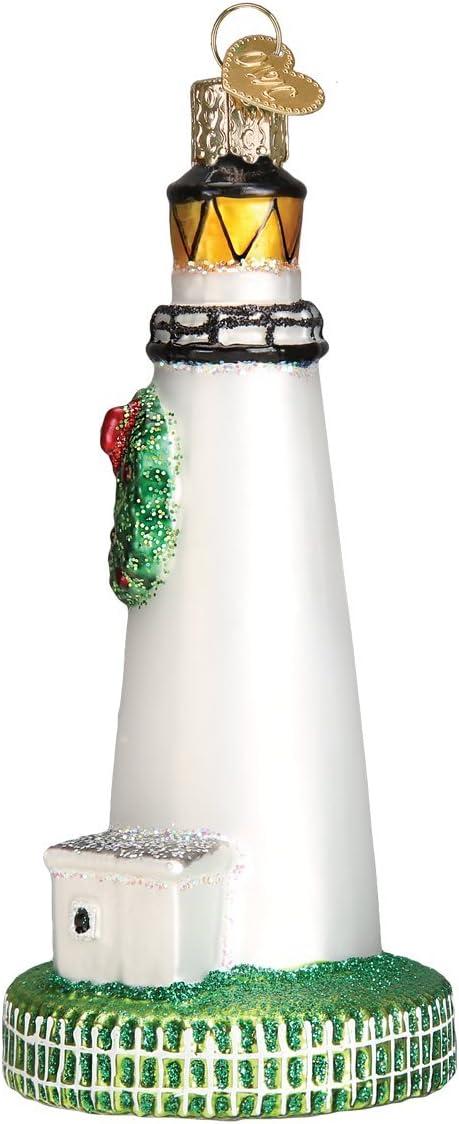 20078 Old World Christmas OCRACOKE LIGHTHOUSE N Glass Ornament w//OWC Box