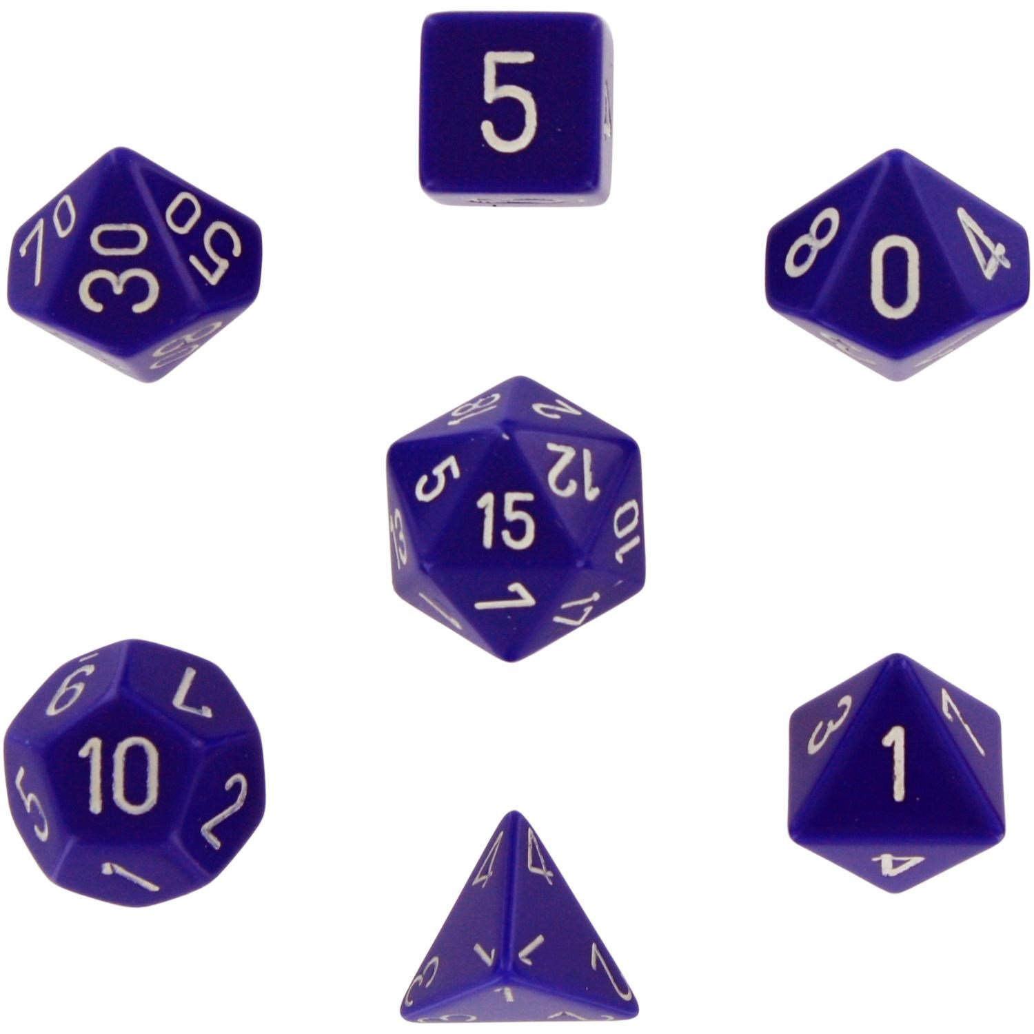 Purple with White CHX 25407 Chessex Dice Polyhedral 7-Die Opaque Dice Set