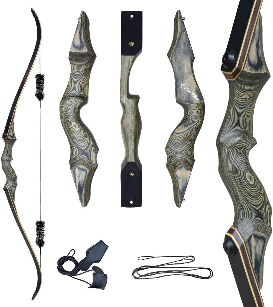 D&Q Recurve Bow with Bow stinger for adults, green color with swirl details on bow.